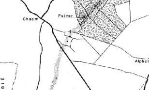 kaart van het schadespoor bij Chaam. Elk getroffen gebouw wordt door een kruisje aangegeven. De sporen van vernieling lagen alle binnen het gestippelde gebied.