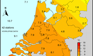 Maximumtemperatuur op 4 januari 2016. In het noordoosten bleef het gehele etmaal de temperatuur onder het vriespunt.