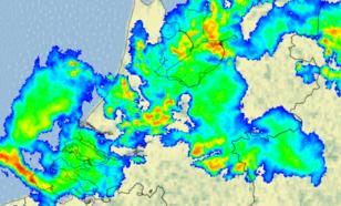 Figuur 5: Beeld van de neerslagradars van het KNMI om 20.00 uur LT (18.00 uur UT)