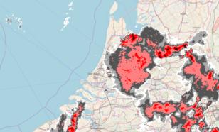 Figuur 4: Beeld van de neerslagradars van het KNMI om 20.00 uur LT