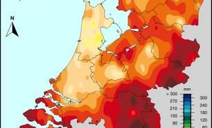 kaart van nederland met ruimtelijke verdeling van het doorlopend neerslagtekort op 30 september 2019