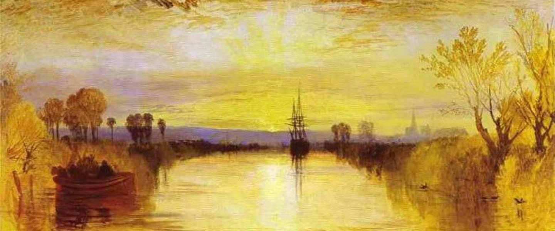 Artist impression van een gele zonsondergang door vulkanisch stof van de Tambora (Turner, 1828)