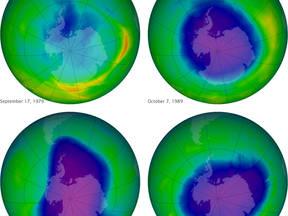 Figuur 1: Het ozongat boven de zuidpool ten tijde van de minimale ozonlaagdikte voor diverse jaren.