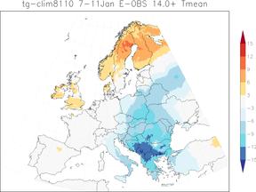 Kaart van Europa waarop te zien is dat Zuid-Oost Europa veel kouder is dan normaal van 7-11 januari.