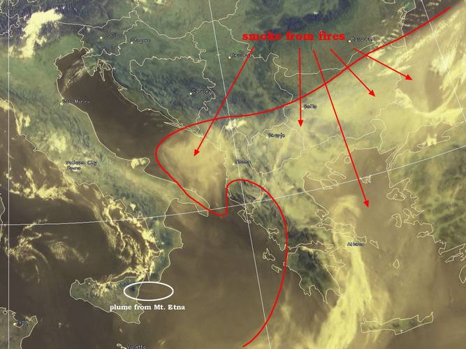 Satellietbeeld bosbranden in Europa