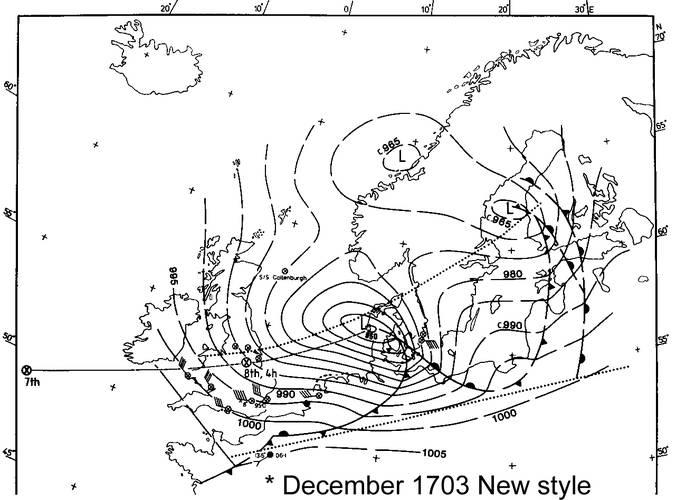 Weerkaart van de storm van 8 december 1703