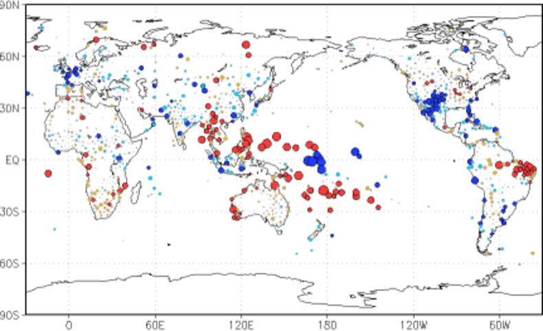 De grootste effecten in ons voorjaar zijn in het westen van de Stille Oceaan: langs de evenaar gaat het meer regenen en 10°-15° ten noorden en ten zuiden er van wordt het droger.