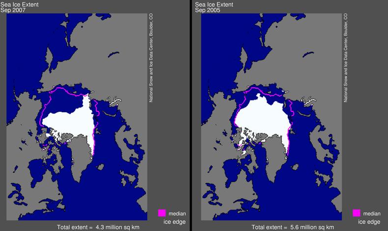Kaart met de verschillen tussen de ijsbedekking in september 2007 (links) en het oude record in 2005 (rechts).