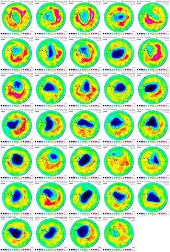 Verloop van het ozongat jaarlijks op 10 november tussen 1979 en 2012