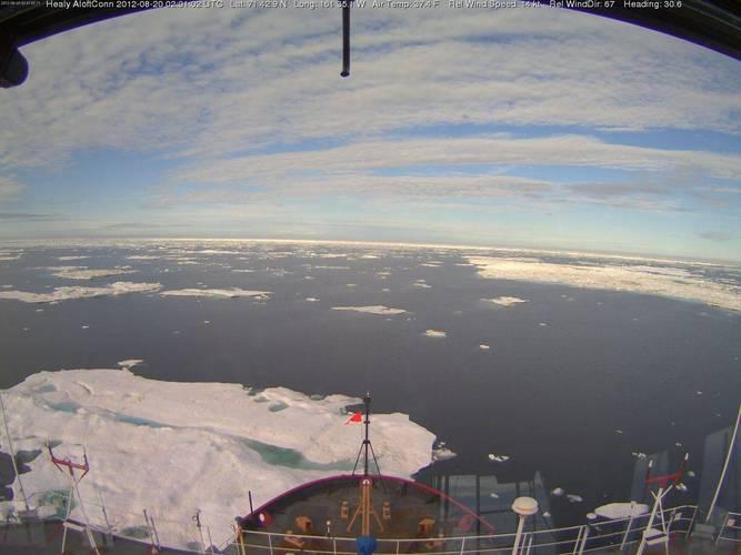 Drijvend ijs op 20 augustus 2012 in de Arctische Zee