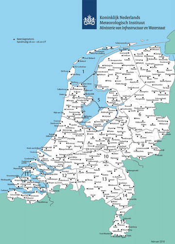 kaart met KNMI-neerslagstations in Nederland