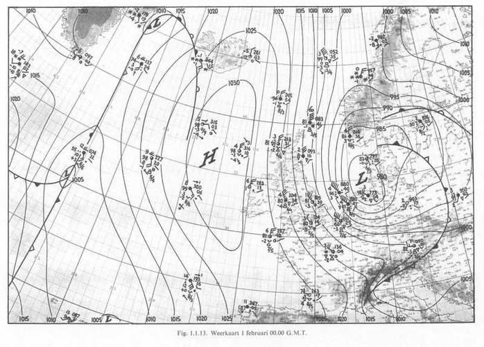 Uitgebreide weerkaart KNMI, 1 februari 1953, 00u00 GMT