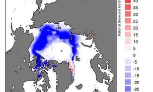kaart met gemiddelde trend (procenten per jaar) in zeeijsbedekking Noordpool in september 1978-2011