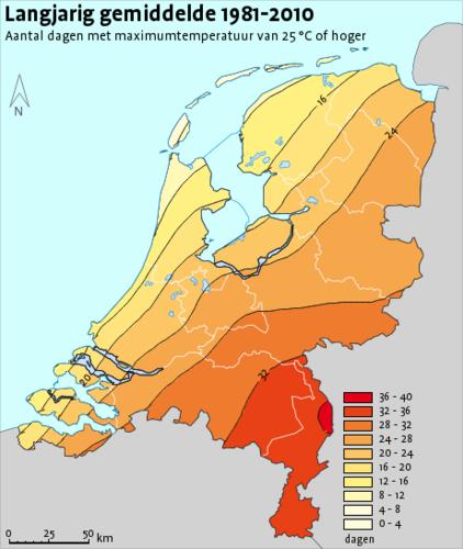kaart met antal zomerse dagen in Nederland gemiddeld over het tijdvak 1981-2010