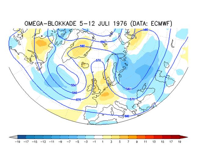 kaart met blokkade op de weerkaart op 500 hPa vlak en afwijking van de temperatuur in het extreem droge jaar 1976