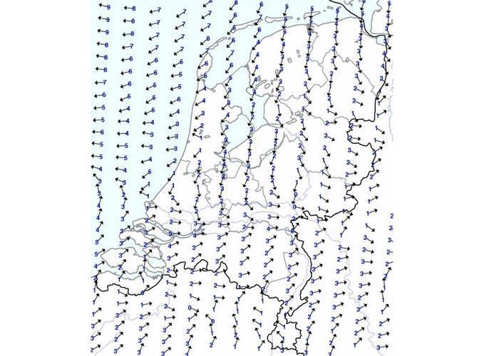 Kaartje met windkracht en -richting van de ballonvaartverwachting.