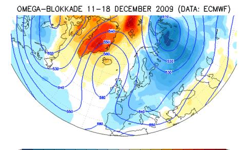 Blokkade op de weerkaart op 500 hPa vlak en afwijking van de temperatuur tijdens de winter van 2009/2010 die leek op de winter van 1963 maar toch minder koud was.