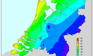 Hoogste uurlijkse windsnelheid (m/s) die eenmaal per jaar wordt overschreden