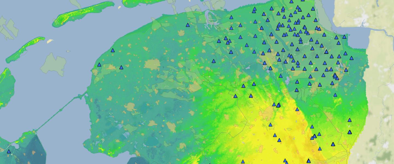 kaart met het seismologisch meetnetwerk in Noord-Nederland