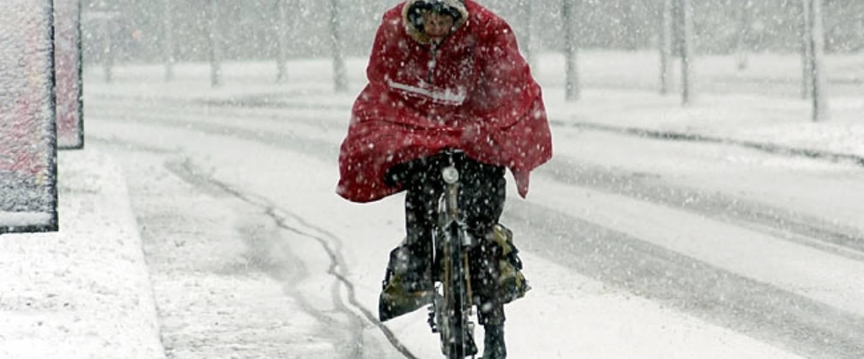 Op de fiets in de sneeuw