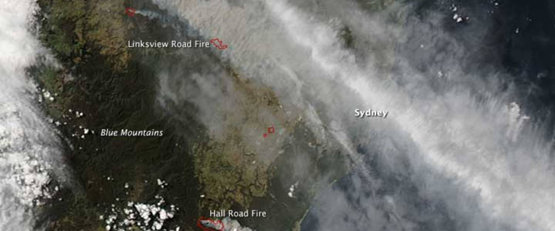 Satellietbeeld van omvangrijke bosbranden in Australië