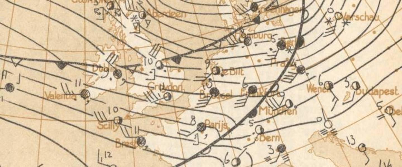 Handgetekende weerkaart KNMI van een zware storm op 12 februari 1962
