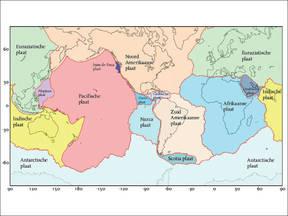 Afbeelding van de tektonische platen op aarde