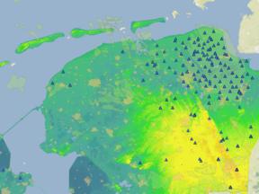 Aardbevingen door gaswinning. Deze afbeelding toont het seismologisch meetnetwerk in Noord-Nederland. ©KNMI