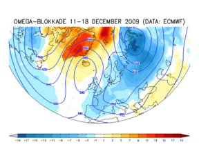 Blokkade op de weerkaart op 500 hPa vlak en afwijking van de temperatuur tijdens de winter van 2009/2010 die leek op de winter van 1963 maar toch minder koud was. ©KNMI