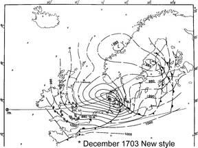 Weerkaart van de storm van 8 december 1703 (Bron: Extreem Weer, Jan Buisman)