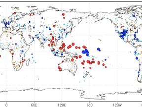 De grootste effecten in ons voorjaar zijn in het westen van de Stille Oceaan: langs de evenaar gaat het meer regenen en 10°-15° ten noorden en ten zuiden er van wordt het droger. ©KNMI