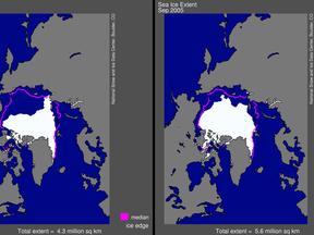 IJsbedekking september 2007 (links) en 2005 (oude record, rechts). Let op verschillen! (NSIDC, 1-10-07)