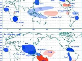 Effecten die vaak optreden bij La Nina (Bron: NCEP-CPC, Washington USA)