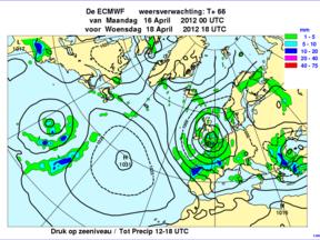 Lagedrukgebied op de weerkaart (Bron: ECMWF)
