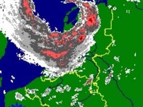 Radarbeeld van 28 mei 2000 om 13.05 UTC ©KNMI