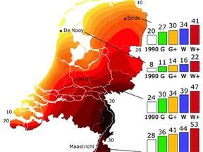 Waargenomen gemiddeld aantal zomerse dagen (maximum temperatuur >= 25 graden) per jaar voor 1971-2000, en voor 4 plaatsen in Nederland de klimaatscenario's voor 2050