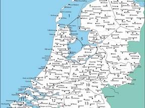 KNMI-neerslagstations in Nederland ©KNMI
