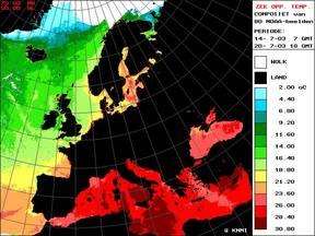 Zeewatertemperatuur in de zomer van 2003 ©KNMI