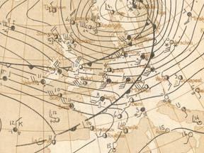 Handgetekende weerkaart KNMI van een zware storm op 12 februari 1962 (Bron: Severe Weather Catalogue Netherlands)