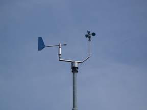 De windsnelheid wordt gemeten met een anemometer (Bron: Jannes Wiersema)