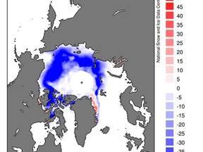 Gemiddelde trend (procenten per jaar) in zeeijsbedekking Noordpool in september 1978-2011 (Bron: NSIDC)