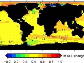 Kaart met de verwachte verandering van het lokale zeeniveau in het jaar 2100 ten opzichte van het niveau van 1990 (Bron: Slangen et al. 2011)