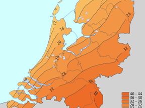 Kaart van Nederland met gemiddeld aantal zomerse dagen over de periode 1991-2020