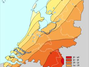 Aantal zomerse dagen in Nederland gemiddeld over het tijdvak 1981-2010 ©KNMI