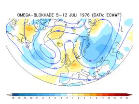 Blokkade op de weerkaart op 500 hPa vlak en afwijking van de temperatuur in het extreem droge jaar 1976 ©KNMI/ECMWF