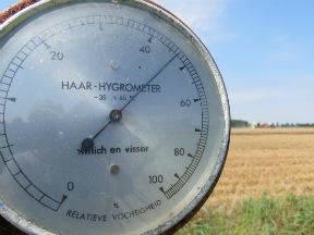 Een haarhygrometer meet de relatieve vochtigheid (Bron: Jannes Wiersema)