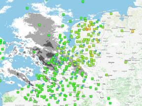 kaart met weerstations van WOW-NL