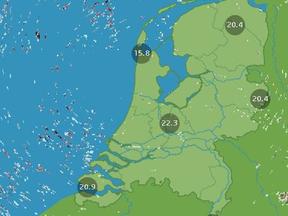 een radarbeeld met een verstoord radarsignaal boven de noordzee