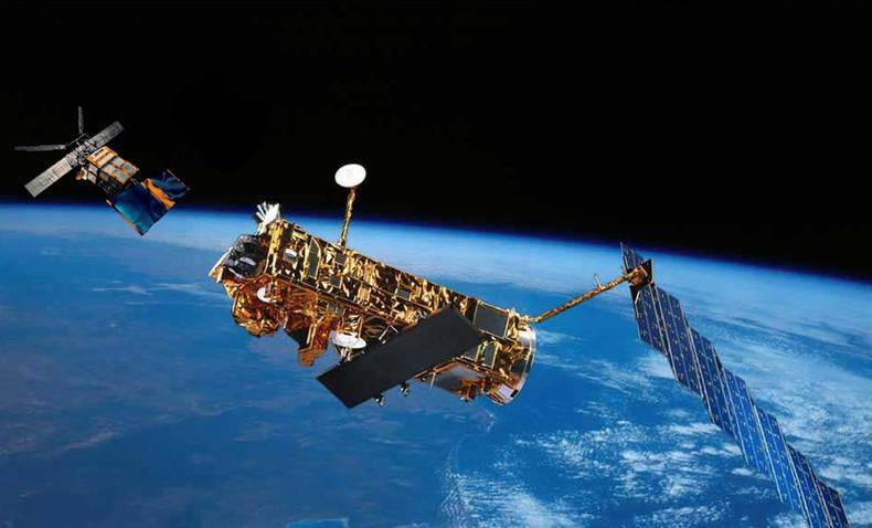 De ESA satellieten ERS-2 en Envisat (Bron: ESA).