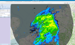 Visualization of precipitation from KNMI radars above the Netherlands during a heavy rainstorm.